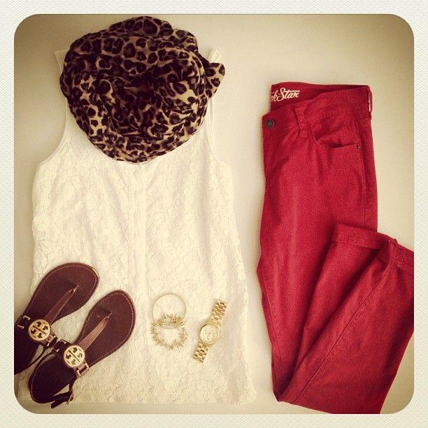 Cheetah print scarf + white sleeveless blouse + red pants