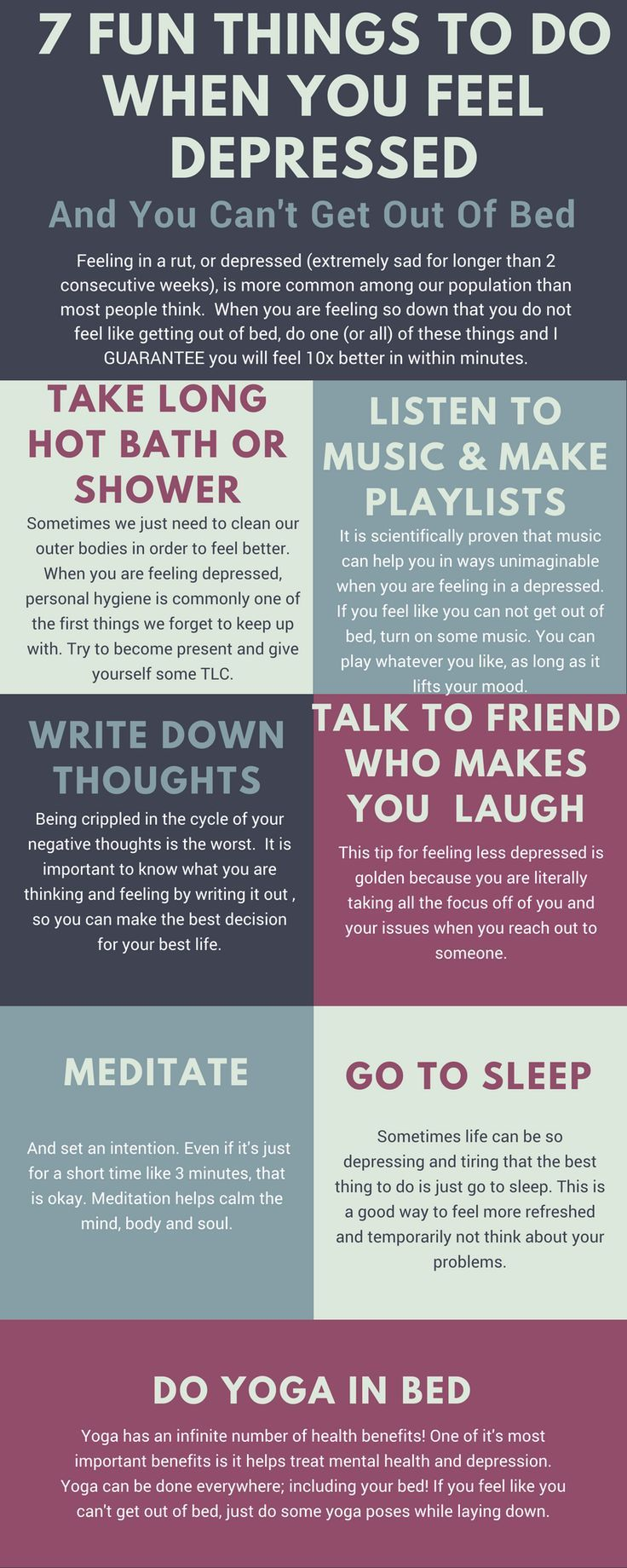 7 fun things to do when you feel extremely depressed!  #selfcare #selflove #personalgrowth #personaldevelopment #success #selfcaretips #productivity #mentalhealth #mentalhealthawareness #depressed #anxiety