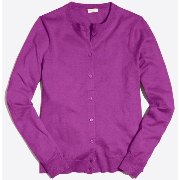 J.Crew Cotton Caryn cardigan sweater ($25) ❤ liked on Polyvore featuring tops, purple top, j crew tops, purple long sleeve top and long sleeve tops