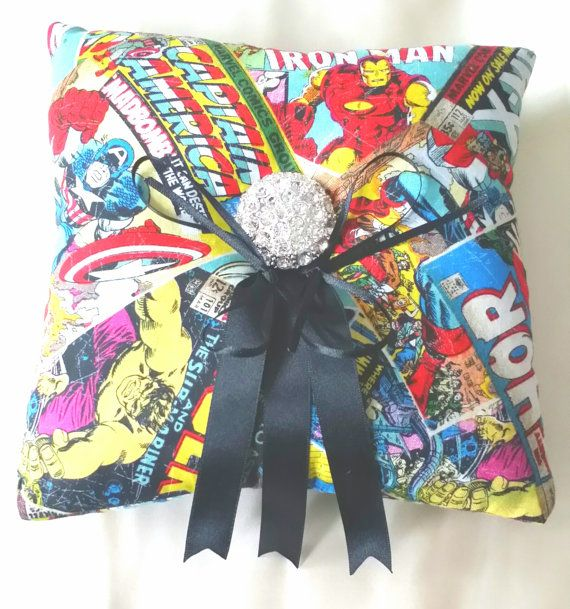 Marvel/Superhero Wedding Ring Pillow by scarboroughrose on Etsy, £15.00