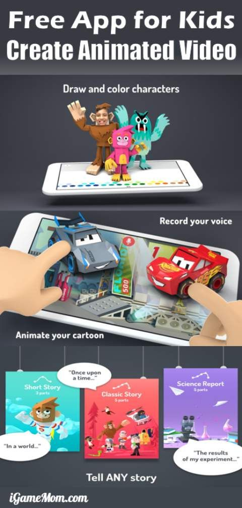 free app for kids to create animation movies. Great way to learn storytelling.