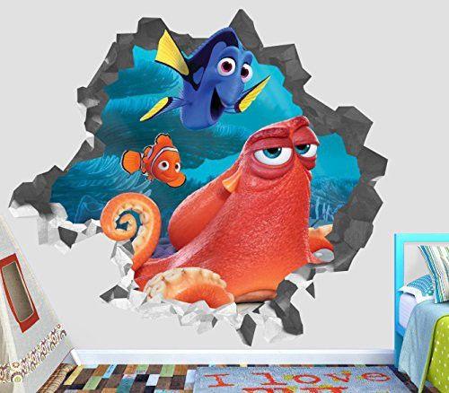 Finding Nemo Dory Hank Adventure Wall Decal Smashed 3d Sticker Vinyl Decor Mural Movie Kids Broken Wall 3d Designs Op435 Large Wide 40 X 36 Height Sticker Decor