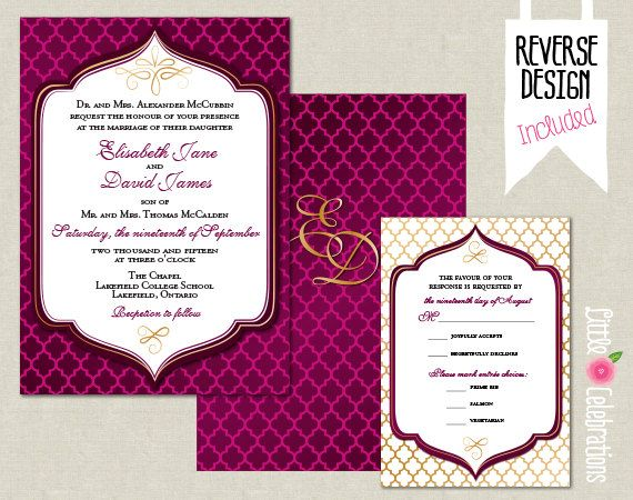 CUSTOMIZED PRINTABLE Plum Purple and Gold Moroccan Custom Wedding Invitation & Reply Card Set by littlecelebrations on Etsy