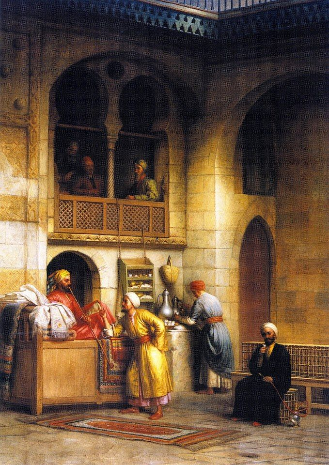 In a Rug Bazaar, Cairo 1877 By George Henry Hall (American, 1825-1913) Oil on canvas , 119.38 cm X 86.36 cm