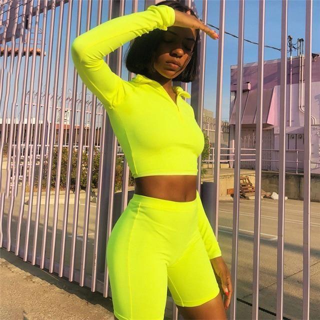 Heal Orange Yoga Set Fitness Clothing Long Sleeve Shirts And Shorts for Women