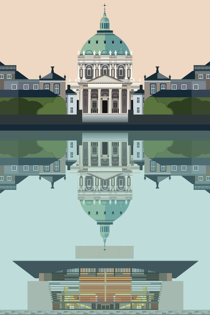 The Marble Church and the Opera House Reflection - illustration #Sivellink