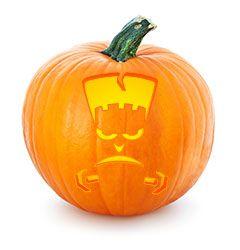 Frankenstein pumpkin stencil - free printable Halloween pumpkin stencils