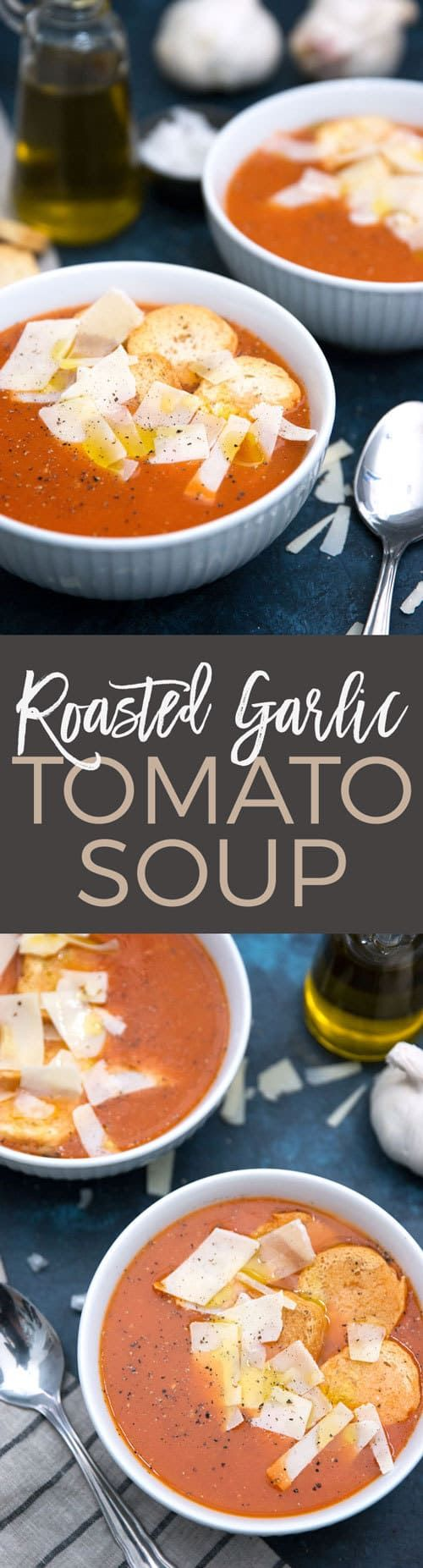 This roasted garlic tomato soup is recipe is easy to make and perfect when paired with a grilled cheese sandwich. This flavorful and aromatic soup is easy to make and is great as lunch! #soup #lunch #tomatosoup #recipe