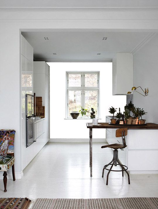 Alisha S....this made me think of you! Perfect White kitchen. White vct, glossy white cabinets, wood counter.