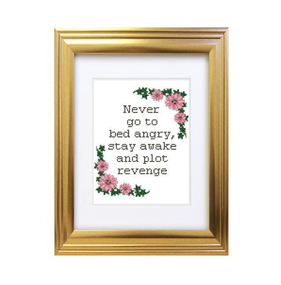 Stay Awake Plot Revenge - Counted Cross Stitch Pattern - Subversive Funny Rude - Life Quote - Instant Download