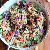 Crunchy Cashew Thai Quinoa Salad with Ginger Peanut Dressing {vegan & gluten-free} | Ambitious Kitchen