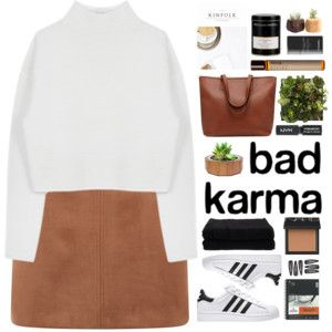 suede skirt and white turtleneck