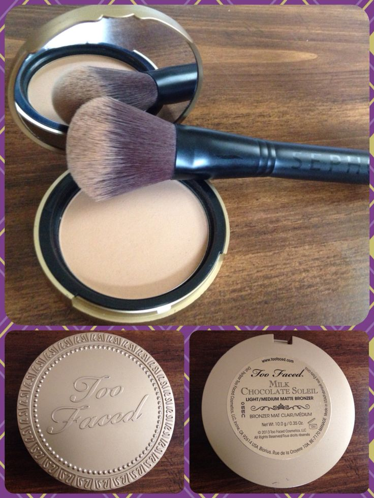 Too Faced-Milk Chocolate Soleil. Perfect bronzer for fair skin. It applies perfectly without being too dark and it smells delicious! Just like chocolate!