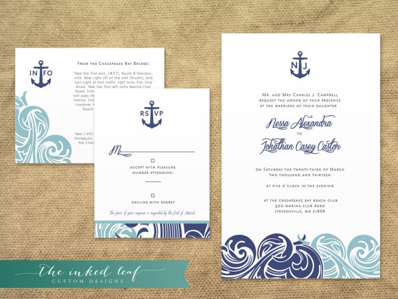 Modern Nautical Themed Wedding Invitations from The Inked Leaf on – Nautical Wedding Invite