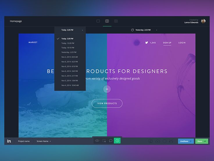 Working on some concepts to update InVision's version history mode UI. Stay tuned!  Press L to show some love  Follow the InVision Team  Not collaborating with InVision yet? Sign up for free!
