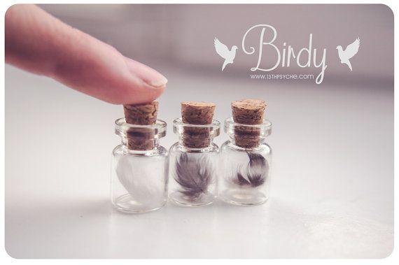 Tiny Feather fles ketting glas vial halsketting schattige