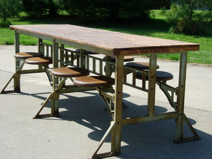 Industrial Dining Table Cast Iron Swivel Seats Vintage Factory
