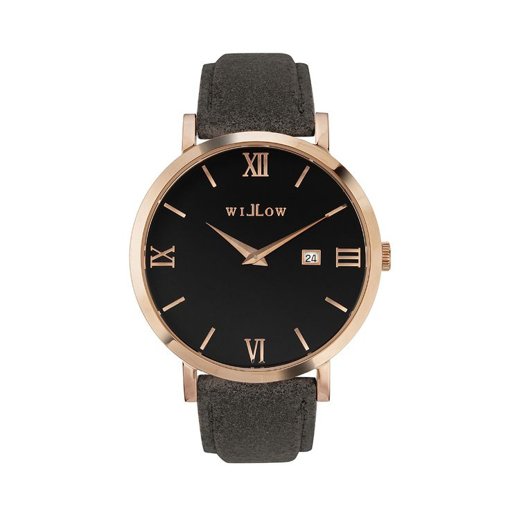 Roma Rose Gold Watch & Interchangeable Grey Leather Strap.