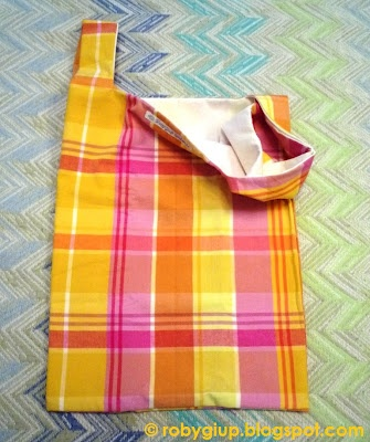 Borsa della spesa in stoffa scozzese rosa e gialla e fodera bianca - Fabric shopping bag with printed pink and yellow tartan and white lining