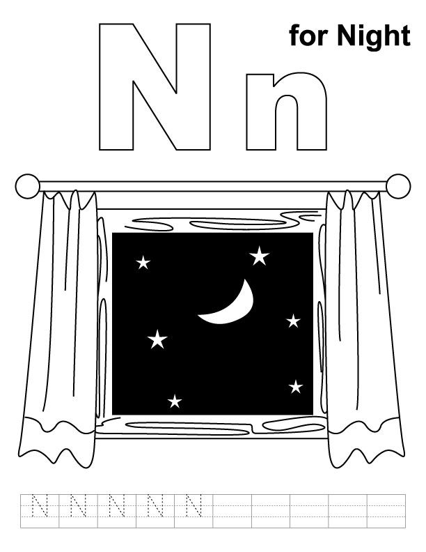 coloring pages night | N for night coloring page with handwriting practice ...