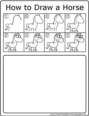 How to draw a horse step by step easy for kids - photo#80
