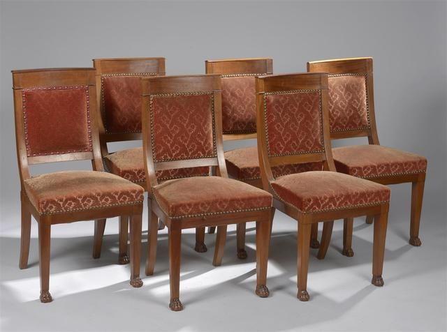 Suite de six chaises de salle à manger en placage d\u0027acajou à dossier