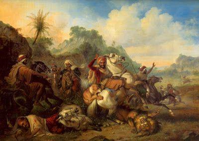 """Lukisan """"Berburu Singa"""" oleh Raden Saleh Sjarif Boestaman. Dilukis pada tahun 1839."""