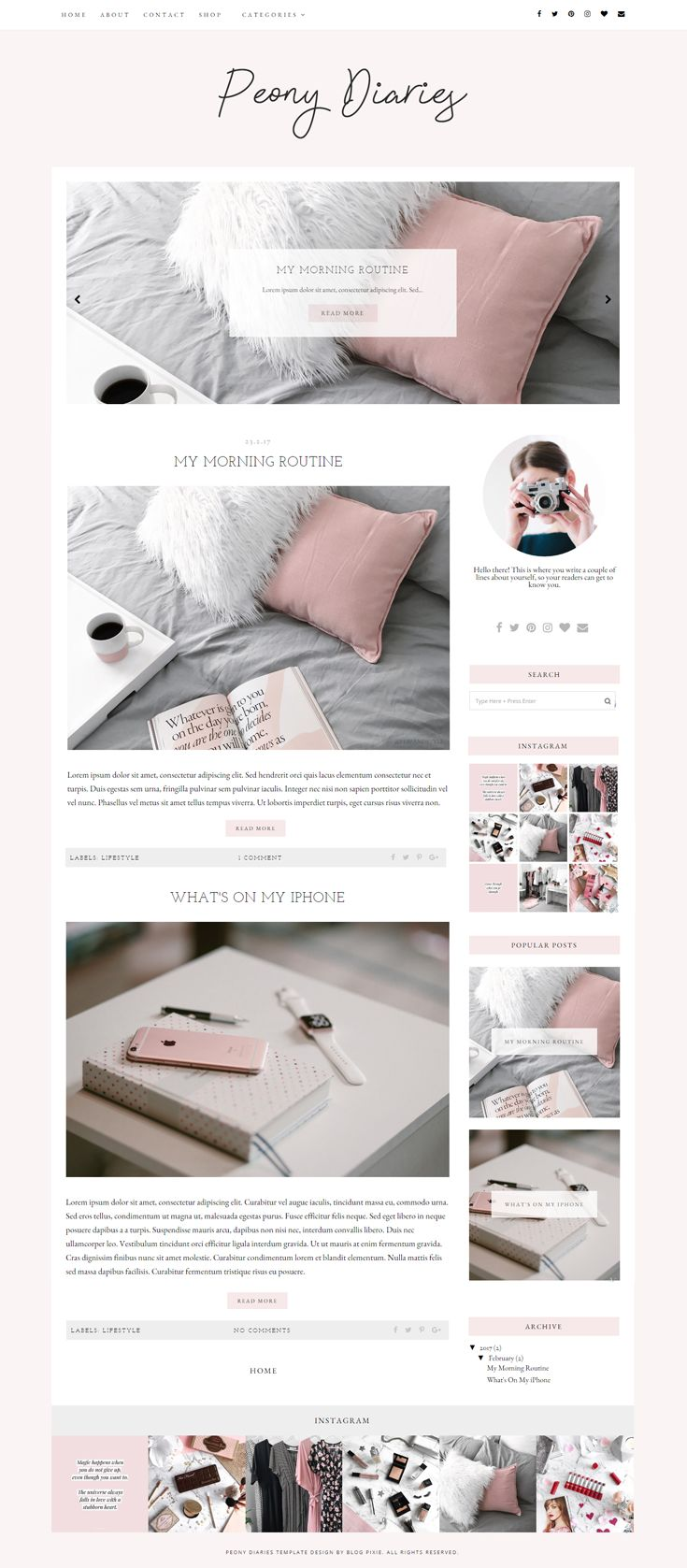 Peony Diaries   A responsive Blogger template   Premade, feminine Blogger templates + blog themes by BlogPixie on Etsy