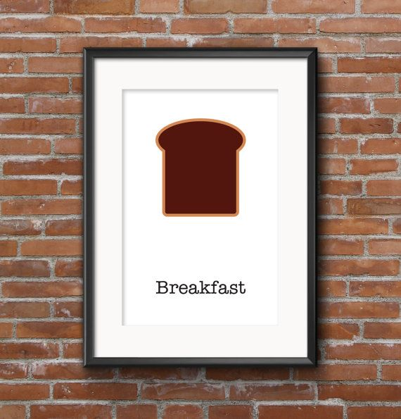 Poster kitchen Breakfast / Wall poster food / Posters by SketchChe