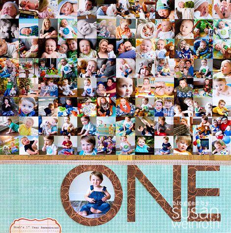 #scrapbooking: Scrapbook Ideas, Photo Collage, Studios Calico, 1St Birthday, First Birthday, Cool Ideas, Scrapbook Layout, Scrapbook Pages, Birthday Ideas