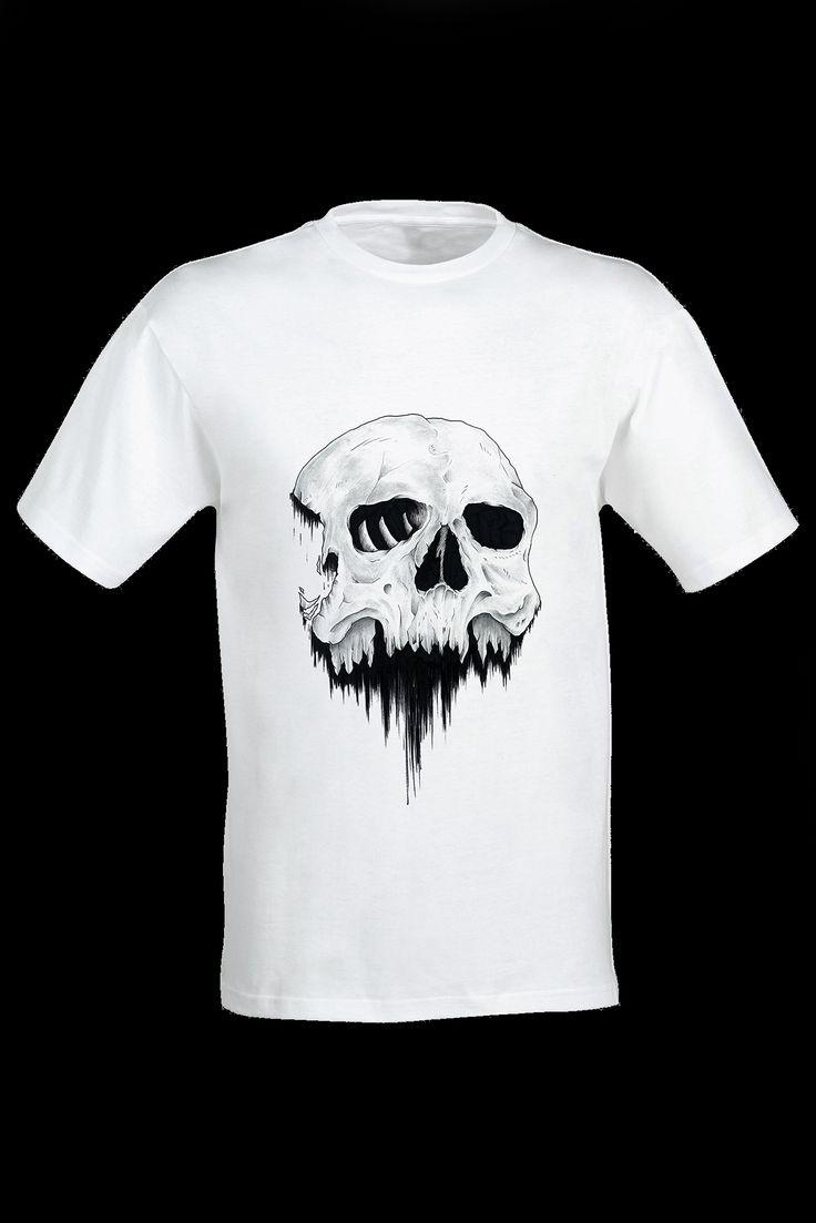 T-shirt 100% cotone con disegno teschio