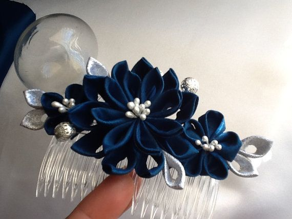 Hair Comb Dark Teal Blue Silver Kanzashi by LihiniCreations