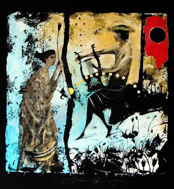 Орфей и Эвредика  У Орфея была жена - прекрасная и юная нимфа-дриада Эвридика, которую он любил больше своей жизни, и она так же сильно любила его. Но судьба жестоко обошлась с возлюбленными, не дав продлиться их счастливой жизни. Укус ядовитой змеи оборвал жизнь прекрасной нимфы. После смерти жены Орфей спускался за ней в подземное царство. Очаровал своим пением и игрой на лире Аида и Персефону так, что они согласились возвратить на землю Эвридику, но Орфей нарушил условие поставленное…