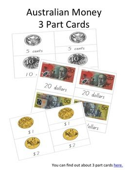 Australian Notes and Coins on 3 Part Cards. Ready for you to cut out and laminate. All coins and notes that are currently used in Australia.