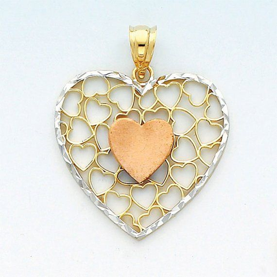 14K Heart, 14K Heart Pendant, Heart Pendant, Gold Heart, Gold Heart Pendant, Heart Necklace, Rose Gold Heart, Heart Jewelry