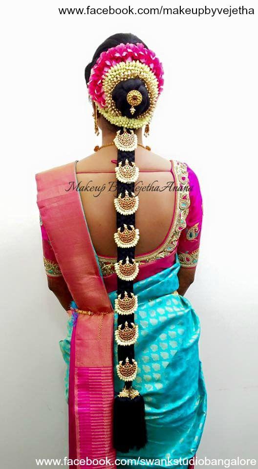 Traditional Southern Indian bride's bridal braid hair. Hairstyle by Vejetha for Swank Studio. Silk Saree. Sari Blouse Design. Hair Accessory. Temple jewelry. Jhumkis. Silk kanchipuram sari. Braid with fresh flowers. Tamil bride. Telugu bride. Kannada bride. Hindu bride. Malayalee bride. Find us at https://www.facebook.com/SwankStudioBangalore