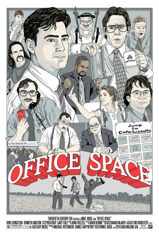 Office Space alternate movie poster by Chad Malone. Includes Peter Gibbons, the Bobs, Samir, Lawrence, Bill Lumbergh, Milton, Joanna, Michael Bolton, Drew, and Tom Smykowski
