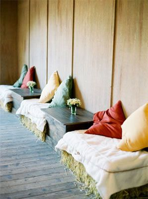 """Hay Bale Seating - this would be so cool for a """"lounge"""" area in a barn/tent"""
