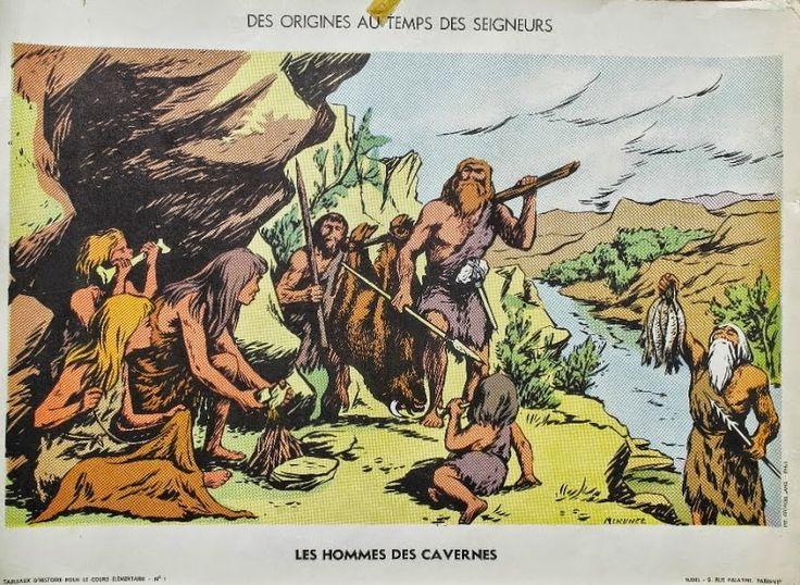 """Manuels anciens: Affiche histoire """"Les hommes des cavernes"""""""
