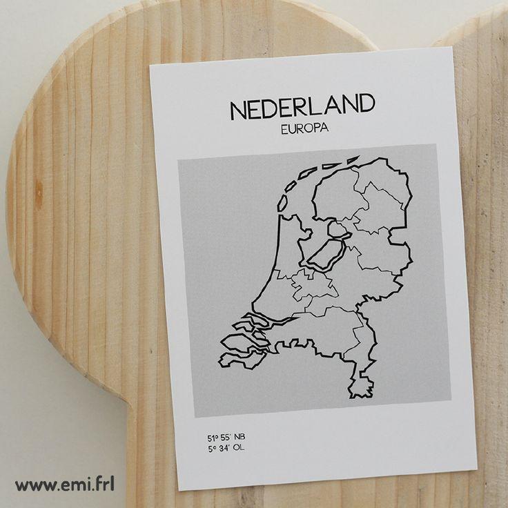 Nederland, ansichtkaart minimalistische Scandinavische stijl, Emi.frl