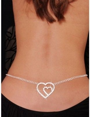Sexy Rhinestone Belly Chain with Back Charm Double Heart