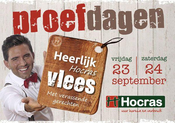 """Advertentie ontwerp voor de """"#HeerlijkHocras #Vlees"""" #Proefdagen 23 en 24 september 2016 bij de #Hocras. Verzorgd door #JochemAlbrecht van #reclamebureauHolland"""