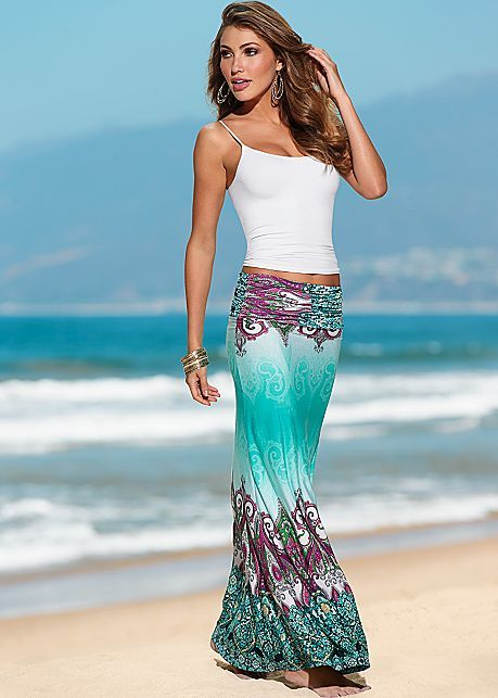 Cami, printed maxi skirt. I have own this maxi skirt for over a year love it but, I wear it with a fancy top and it looks very better.