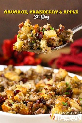 Sausage, Cranberry And Apple Stuffing   Homemade Stuffing Recipes For The Perfect Thanksgiving Feast