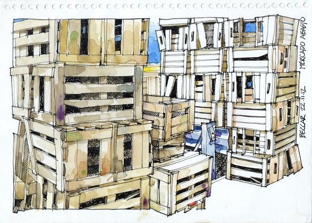 Urban Sketchers Buenos Aires: Cajones en el Mercado de Abasto de Beccar
