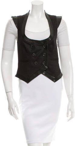 John Galliano Leather-Trimmed Wool Vest