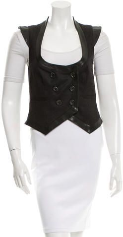 John Galliano Leather-Trimmed Wool Vest