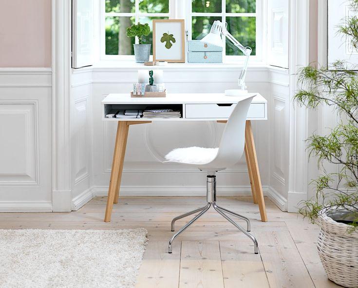 Íróasztal TAMHOLT 1 fiókos fehér/tölgy | JYSK