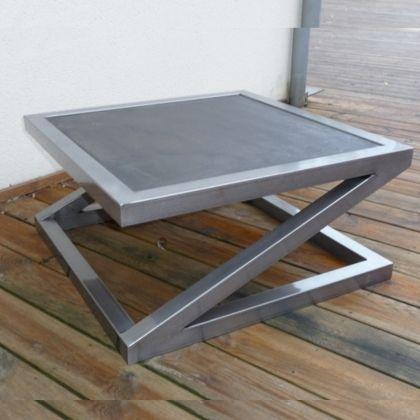 Table basse beton design Table basse metal beton  www.loftboutik.com