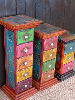Painted Pillar Drawers: Tall